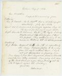 Correspondence from H. Cousens to General Hodsdon, August 07, 1862