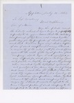 Letter to Governor Washburn Requesting Replacement of Reuben Dyer, July 16, 1862