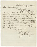 Letter from J.D. Rust to Governor Washburn recommending officer, August 17, 1861
