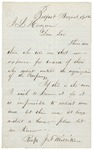 Letter from J.F. Milliken to Adjutant General John L. Hodsdon, August 19, 1861