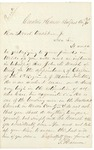 Letter from T. Harmon to Governor Washburn recommending Reverend J.N. Marsh for appointment as chaplain of 8th Maine Regiment, August 30, 1861