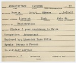 Alien Registration Card- Abramowitsch, Jacques (Limerick, York County)
