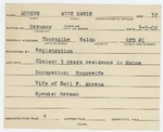 Alien Registration Card- Ahrens, Annemarie (Thorndike, Waldo County) by Annemarie Ahrens