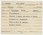 Alien Registration Card- Ahrens, Annemarie (Thorndike, Waldo County)
