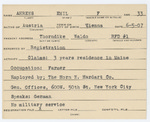 Alien Registration Card- Ahrens, Emil F. (Thorndike, Waldo County)