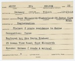 Alien Registration Card- Arndt, Eva H. (Cape Elizabeth, Cumberland County)