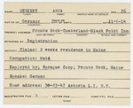 Alien Registration Card- Benkert, Anna (Portland, Cumberland County) by Anna Benkert
