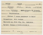 Alien Registration Card- Berube, Elsie (Lewiston, Androscoggin County) by Elsie Berube