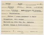 Alien Registration Card- Berube, Elsie (Lewiston, Androscoggin County)