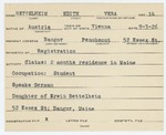 Alien Registration Card- Bettelheim, Edith V. (Bangor, Penobscot County) by Edith V. Bettelheim