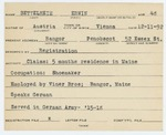 Alien Registration Card- Bettelheim, Erwin (Bangor, Penobscot County) by Erwin Bettelheim