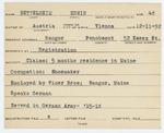 Alien Registration Card- Bettelheim, Erwin (Bangor, Penobscot County)
