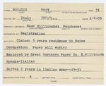 Alien Registration Card- Bonadio, Tony (East Millinocket, Penobscot County) by Tony Bonadio