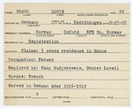 Alien Registration Card- Braun, Louis (Norway, Oxford County) by Louis Braun