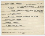 Alien Registration Card- Burmeister, Friedel (Cape Elizabeth, Cumberland County) by Friedel Burmeister