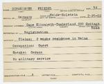 Alien Registration Card- Burmeister, Friedel (Cape Elizabeth, Cumberland County)