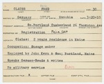 Alien Registration Card- Clauss, Fred (South Portland, Cumberland County) by Fred Clauss