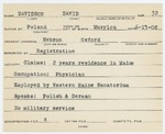 Alien Registration Card- Davidson, David (Hebron, Oxford County) by David Davidson