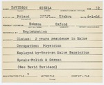 Alien Registration Card- Davidson, Gizela (Hebron, Oxford County) by Gizela Davidson