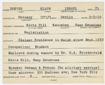 Alien Registration Card- Dreyer, Klaus I. (Readfield, Kennebec County) by Klaus I. Dreyer