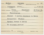 Alien Registration Card- Elfman, Kenneth (Orono, Penobscot County)