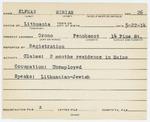 Alien Registration Card- Elfman, Miriam (Orono, Penobscot County) by Miriam Elfman