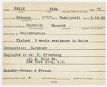 Alien Registration Card- Felle, Elsa (Blue Hill, Hancock County) by Elsa Felle