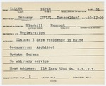 Alien Registration Card- Haller, Peter (Blue Hill, Hancock County)