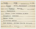 Alien Registration Card- Haller, Peter (Blue Hill, Hancock County)