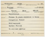 Alien Registration Card- Heikkinen, Peter (Warren, Knox County)