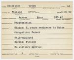 Alien Registration Card- Heikkinen, Peter (Warren, Knox County)
