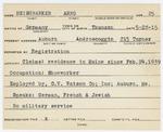 Alien Registration Card- Heisehhasker, Areer (Auburn, Androscoggin County)
