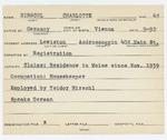 Alien Registration Card- Hirschel, Charlotte (Lewiston, Androscoggin County) by Charlotte Hirschel
