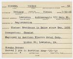 Alien Registration Card- Hirschl, Jsiolor (Lewiston, Androscoggin County)
