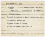 Alien Registration Card- Hirschler, Max (Lewiston, Androscoggin County)