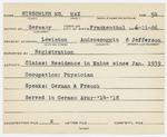 Alien Registration Card- Hirschler, Max (Lewiston, Androscoggin County) by Max Hirschler