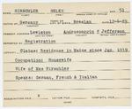 Alien Registration Card- Hirshler, Helen (Lewiston, Androscoggin County)