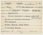 Alien Registration Card- Ibarguen, Alfonso R. (Farmington, Franklin County)