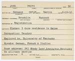 Alien Registration Card- John, Fritz (Brooklin, Hancock County)