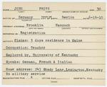 Alien Registration Card- John, Fritz (Brooklin, Hancock County)