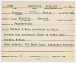 Alien Registration Card- John, Charlotte (Brooklin, Hancock County) by Charlotte John (Woellmer)