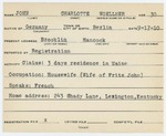Alien Registration Card- John, Charlotte (Brooklin, Hancock County)