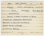 Alien Registration Card- Kapp, Karl (August) W. (Orono, Penobscot County)