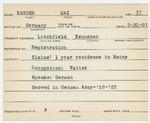 Alien Registration Card- Karner, Max (Litchfield, Kennebec County) by Max Karner