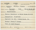 Alien Registration Card- Klueger, Hedwig (Wells, York County)