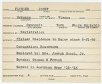 Alien Registration Card- Klueger, Josef (Wells, York County)