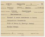 Alien Registration Card- Koenig, Charlotte D. (Pownal, Cumberland County)