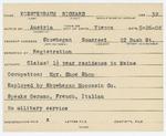 Alien Registration Card- Koestenbaum, Richard (Skowhegan, Somerset County) by Richard Koestenbaum