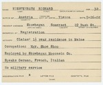 Alien Registration Card- Koestenbaum, Richard (Skowhegan, Somerset County)