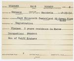 Alien Registration Card- Krahmer, Hans R. (Cape Elizabeth, Cumberland County) by Hans R. Krahmer